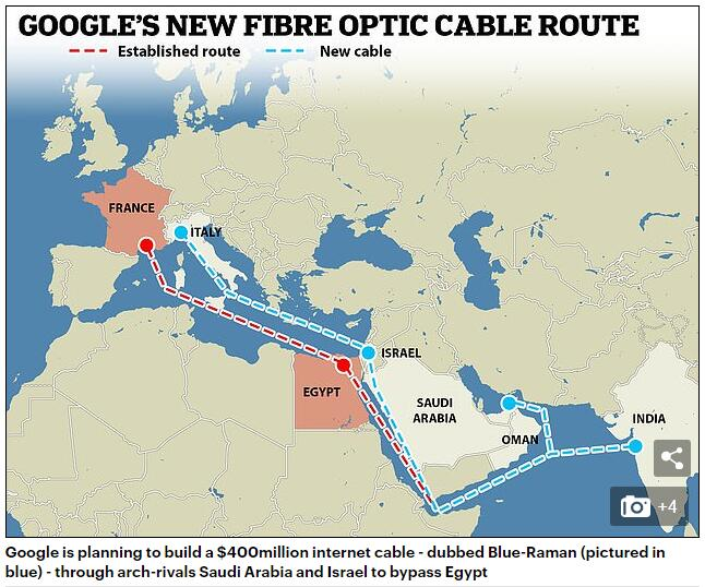谷歌欲建沙特-以色列光缆 打通印欧互联网流向新出口